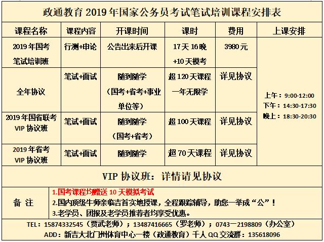 【政通教育】2019年国家公务员考试笔试培训课程安排